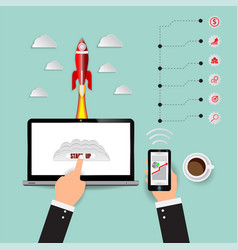 rocket launch startup marketing infographics vector image
