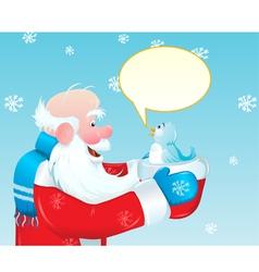 santa claus talking to blue bird vector image