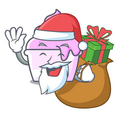 santa with gift ice cream paper cup mascot cartoon vector image