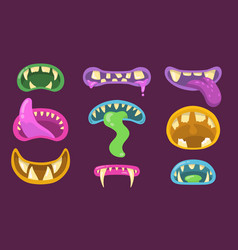 scary monsters mouths set vector image