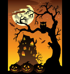 Scene with halloween mansion 6 vector