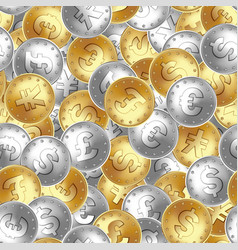 seamless pattern golden and silver coin money vector image