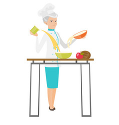 Senior caucasian chef cook preparing food vector
