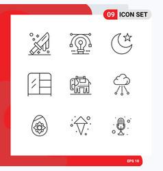 Set 9 modern ui icons symbols signs for usa vector
