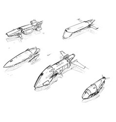 Set hand drawn pencil sketches sci-fi space vector