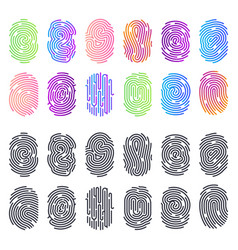 Set isolated black and color fingerprints vector