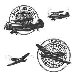Set of aviators club labels Retro planes Design vector