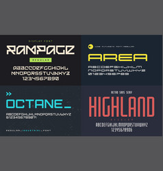 set of display fonts typefaces uppercase vector image