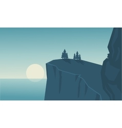 Silhouette of cliff and sea landscape vector