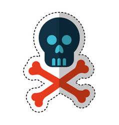 skull danger signal icon vector image