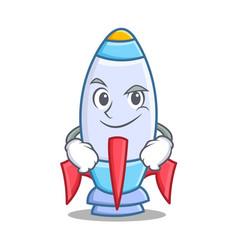Smirking cute rocket character cartoon vector
