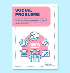 Social issues problems poster template layout vector