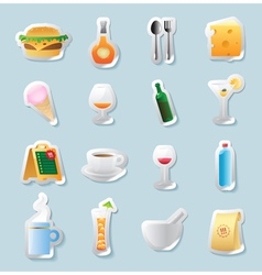 Sticker icons for food and drinks vector