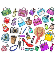 stickers accessories for girls bags and perfumes vector image