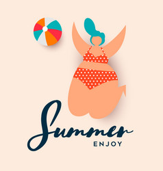 summer vacation card girl playing beach sport vector image