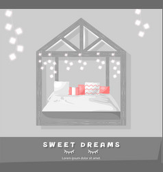 sweet dreams cozy bedroom flat style vector image