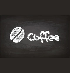 Text and coffee bean chalk sketch vector