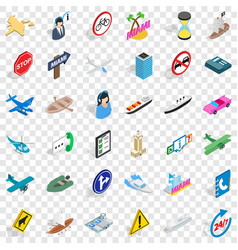 traffic in city icons set isometric style vector image