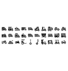 Transportation related icon set 2 solid style vector
