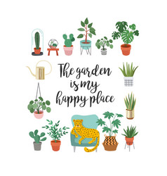 Trendy print with home decor with plants planters vector