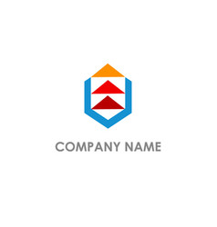 Triangle arrow up layer logo vector