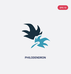 two color philodendron icon from nature concept vector image