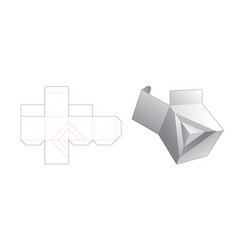 Unique square shaped box die cut template design vector