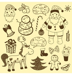 Vintage christmas set old paper vector image