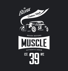 Vintage hot rod vehicle tee-shirt logo vector