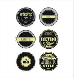 Vintage labels black and beige set 3 vector