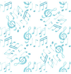 Watercolor musical notes pattern vector