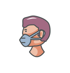 worker with mask industrial protection safety fill vector image