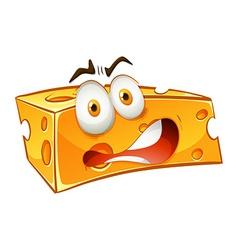 Worried looking yellow cheese vector