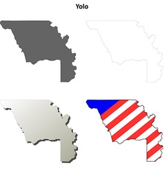 Yolo County California outline map set vector