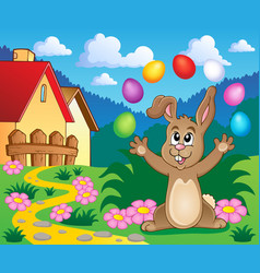Young bunny with easter eggs theme 5 vector