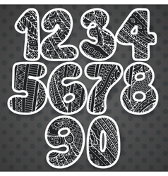 Zentangle numbers set Collection of doodle vector image