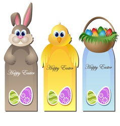 Easter greeting card set with cartoon characters vector image vector image