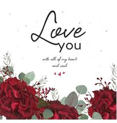 Floral valentine card beauty floral art design vector