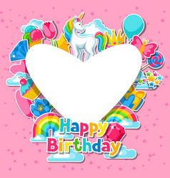 Happy birthday card with unicorn and fantasy vector