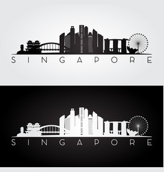 singapore skyline and landmarks silhouette vector image vector image