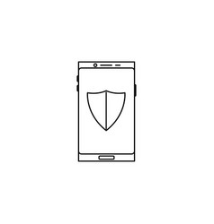 smartphone protection shield icon vector image vector image
