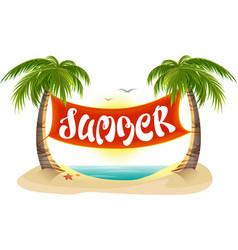 Summer rest Tropical palm trees sea beach vector image