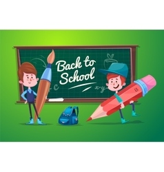 Back to school Cute schoolchild at a lesson near vector image vector image