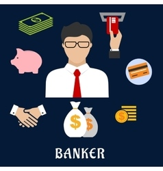 Banker and financial flat icons vector image
