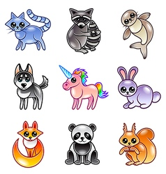 Cute cartoon animals icons set vector image vector image