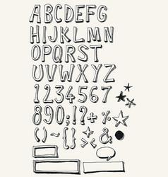 doodle complete alphabet set vector image vector image