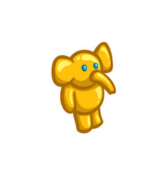 Golden figurine of a toy elephant vector