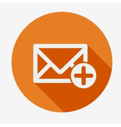 Mail icon envelope with plus sign Flat design vector image vector image