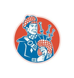 Scotsman Scottish Bagpiper Retro vector image