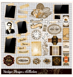 vintage elements collection vector image